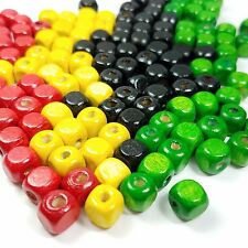 100 Loose Square 8.75-9.5mm Wood Rasta Beads Black Yellow Red Green, Mixed Beads