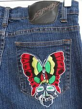 ED HARDY JEANS JR WOMENS 11/12 EMBROIDERED AND TRANSFER SKULL FLOWERS BUTTERFLY