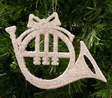 SILVER GLITTER FRENCH HORN MUSICAL INSTRUMENT CHRISTMAS ORNAMENT