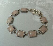Vintage Sterling Link Bracelet With Beautiful Rose Quartz Stone, Konder #354