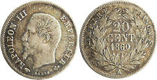 NAPOLEON  III  ,  20  CENTIMES  ARGENT  TETE  NUE  ,  1860  A  PARIS