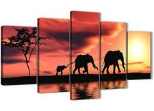 5 Piece Orange Canvas Art Pictures Africa Elephants Wall Prints 5102