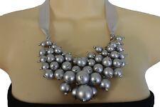 New Women Gray Fabric Strand Jewelry Bib Necklace Silver Imitation Pearl Beads