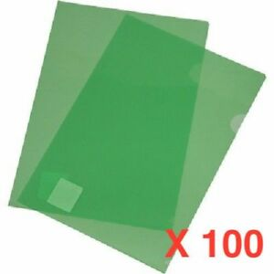 100 x A4 Polyfolder Letter Files Thumb Hole 2 Sides Opening GREEN
