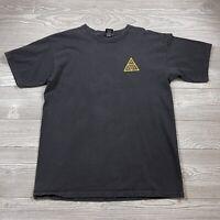 HUF Men's Triple Triangle Logo T-Shirt Size Medium Black Double Sided F81