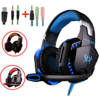 US 3.5mm Gaming Headset Mic LED Headphones Stereo Bass Surround For Xbox One PS4