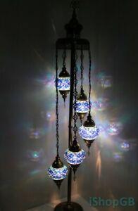 Beautiful Blue 5 Globes Turkish Moroccan Handmade Glass Floor Lamp