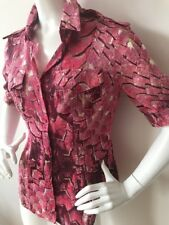 Just Cavalli Magenta Reptile Lizard Pring Button Up Womans Shirt 100% Silk EU 46