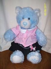 Build A Bear Blue Winter Snowflake Sparkle Bear Plush With Poodle Skirt Pink Top