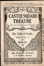 THE LADY OF LYONS - Vintage 1899 Castle Square Theatre Booklet - Boston MA