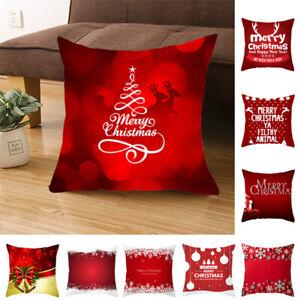 18'' Red Merry Christmas Pillowcase Sofa Peach Skin Throw Cushion Cover Xmas