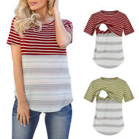 Women Maternity Nursing Summer Tops Patchwork Stripe Short Sleeve T Shirt Blouse