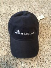 Peter Millar Navy Blue Hat - Adjustable Strap -Cotton - Embroidered - NEW