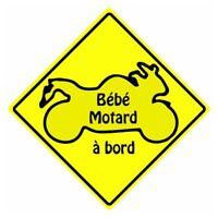 Bébé motard à bord carré jaune autocollant sticker adhesif logo 3-3 Taille:17 cm