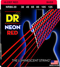 DR NRB6-30 6 string Hi-Def Neon Red Coated Bass Guitar Strings 30-125 MED