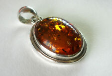 Reconstituted* AMBER Pendant in 925 Silver Double Bezel Setting ~ Pre-owned