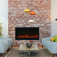 Recessed Wall Mounted Electric Fireplace Heater Multicolor Flame Remote Control