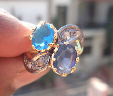 Topaz Blue Sapphire Wedding Nice Ring Victorian 0.40ct Rose Cut Diamond Blue