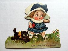 1920s Valentine's Day Card Cute Girl w/ Big Eyes and Her Black Cat w/ Ribbon