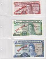 BN1) Gibraltar 1975 set of 4 Uncirculated SPECIMEN Banknotes £1 - £20