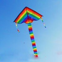 Colorful Rainbow Triangle Kite Outdoor Fun Sports Beach Children Fly Toys Gift