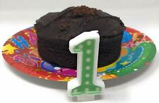 AEX Green Polka Dot Birthday Cake Decoration Wax Candle Number 1