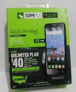 Simple Mobile Alcatel Pixi Glory 4G LTE with 8GB Memory Cell Phone - Black