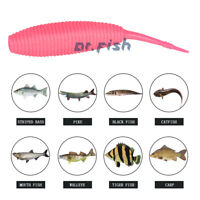 "10X Fishing Worm Lures Soft Plastic Baits Cut Tail Drop Shot 3/"" Bass Pike Musky"