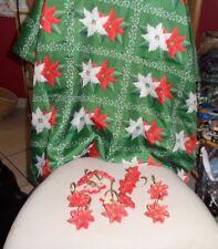 Green Christmas Poinsettia fabric shower curtain w/ 12 poinsettia hooks