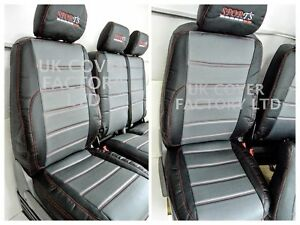 VAN SEAT COVERS TRANSPORTER T5   QUILTED RED STITCH X120GYBK-RD