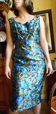 Edward Abbott Vintage 50'S Silk? Sleveless Dress Blues Beautiful.
