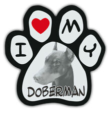 Picture Paws   Dog Paw Shaped Magnets: I Love My Doberman (Pinscher)   Cars