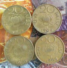 4 pcs YEAR SET - 1968 1969 1970 1971 - Nickel Brass 20 Paise Lotus Coin - India