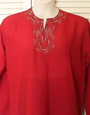 Pranam Top, XXL 2XL Large, Red, Long Sleeves, NWOT BOHO Hippie, Embroidery