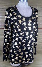 No Boundaries Women shirt Top L cotton stretch long sleeve gold cat lover kitten