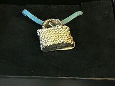 "Wicker Handbag TG98 English Pewter On 18"" Blue Cord Necklace"