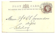 QV 1/2D BROWN POST CARD LONDON HOODED CIRCLE 1895 RYLANDS & SONS FARMER