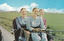 BUGGY RIDE - YOUNG AMISH WOMEN Postcard - photo by Marshall Dussinger - VINTAGE!