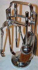 """VTG 5Pc 11"""" Fireplace Tools Set Art Deco Tongs Shovel Poker Brush Weighted Stand"""