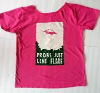 Tacocat Spacecraft UFO Probs Just Lens Flare Pink T Shirt Womens Large Taco Cat