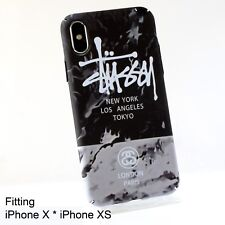 Stussy Glow in Dark Gray Marble Print Hard Case Cover for iPhone X iPhone XS
