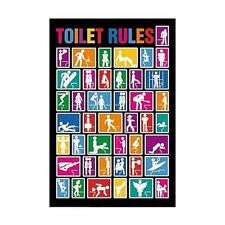 TOILET RULES - FUNNY POSTER 24x36 - COLLEGE DORM 1601
