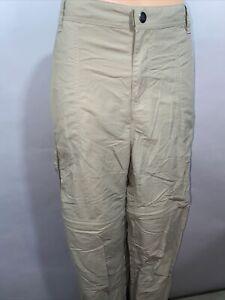 REI Women's Sz 14 Cargo Convertible Zip Off Hiking Pants Sahara Khaki Nylon