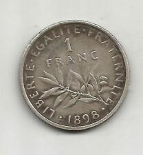 1 FRANC SEMEUSE ARGENT 1898 VIEIL ARGENT
