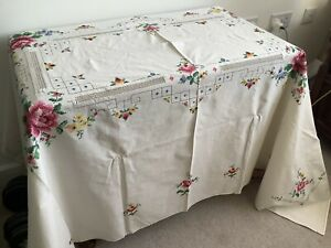 Vintage French Cotton Hand Embroidered Tablecloth And Napkins