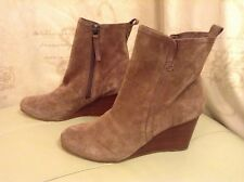New❤️Next❤️Size 7 Brown Suede Wood Wedge Ankle Boots (41 EU) Shoes £55.00