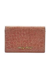 Miu Miu Pink Embossed Leather Snap Wallet