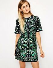 ASOS EUC Premium Black Green Rhinestone  Embellished Embroidered Shift Dress 4 S