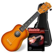 Ukulele Guitare Hawaii Soprano 4 Cordes Uke Bois Acajou Sunburst Set avec Housse