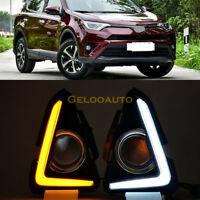 DRL For Toyota RAV4 2016 2017 LED Daytime Driving Running Light Fog Lamp Bezel
